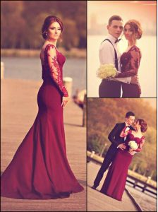 Burgundy Sweetheart Neckline Lace and Appliques Quince Ball Gowns Long Sleeves Zipper