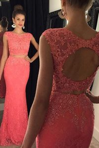 Cheap Watermelon Red Mermaid Bateau Sleeveless Lace With Train Sweep Train Backless Beading and Appliques Sweet 16 Dresses