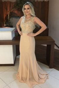 Chic Scoop Mermaid Sleeveless Champagne 15 Quinceanera Dress Sweep Train Backless