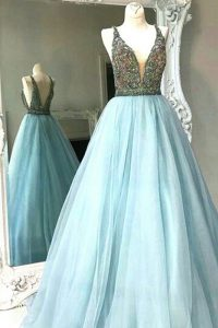 Floor Length Light Blue Sweet 16 Dresses Chiffon Sleeveless Beading