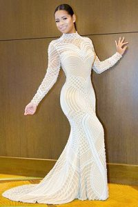 Fabulous Mermaid Long Sleeves Beading Backless Quince Ball Gowns with White Sweep Train