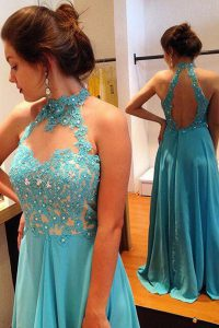 On Sale Scoop Blue Sleeveless Beading and Appliques Backless Sweet 16 Dress