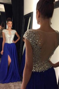 Royal Blue Chiffon Side Zipper Bateau Sleeveless Quinceanera Dresses Sweep Train Beading