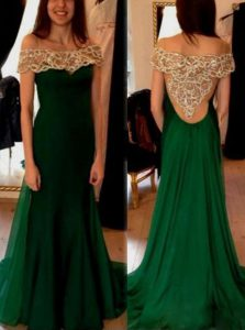 Dark Green Off The Shoulder Side Zipper Beading and Pleated Ball Gown Prom Dress Sweep Train Short Sleeves