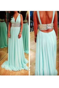 Custom Fit Aqua Blue V-neck Neckline Beading 15th Birthday Dress Sleeveless Backless