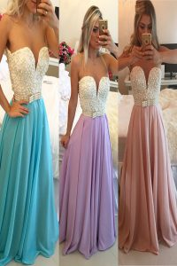 Blue A-line Chiffon Sweetheart Sleeveless Beading Floor Length Clasp Handle Sweet 16 Dress