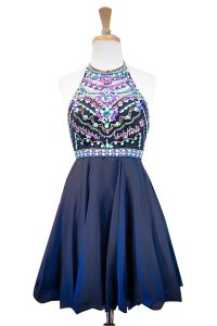Excellent Halter Top Chiffon Sleeveless Mini Length 15 Quinceanera Dress and Beading