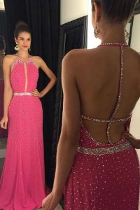 Glorious Scoop Beading Sweet 16 Dress Hot Pink Backless Sleeveless Sweep Train