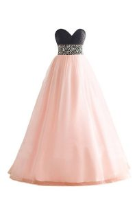 Beading Quinceanera Gowns Pink And Black Lace Up Sleeveless Floor Length