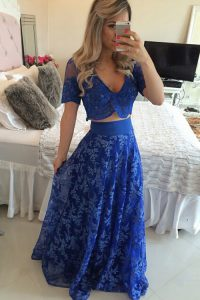Royal Blue Zipper Quinceanera Dresses Lace and Appliques Short Sleeves Sweep Train