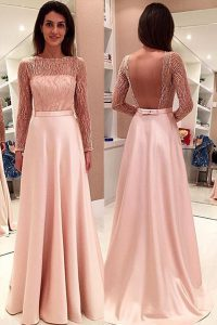 Long Sleeves Sweep Train Backless With Train Beading Quinceanera Dresses