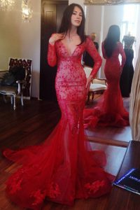 Glittering Red Mermaid V-neck Long Sleeves Tulle Sweep Train Zipper Beading and Lace 15 Quinceanera Dress