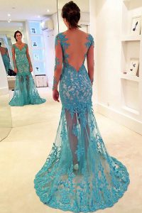 Deluxe Mermaid Long Sleeves Brush Train Lace Backless 15th Birthday Dress