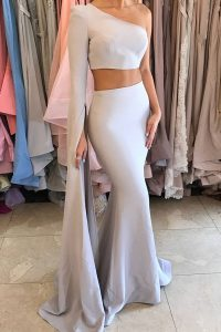 Mermaid Elastic Woven Satin One Shoulder Long Sleeves Side Zipper Ruching Quinceanera Dresses in Silver