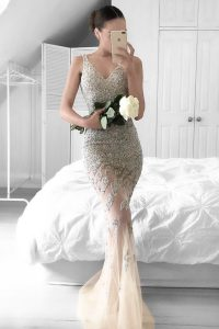 Mermaid Champagne Sleeveless Tulle Sweep Train Zipper Party Dress for Girls for Prom