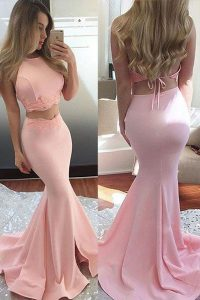 Mermaid Pink Quinceanera Gown Prom with Lace Scoop Sleeveless Sweep Train Backless