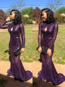Charming Mermaid Sequined High-neck Long Sleeves Sweep Train Zipper Sequins Quinceanera Dresses in Eggplant Purple