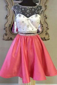 Mini Length Rose Pink Quinceanera Dress Bateau Cap Sleeves Zipper