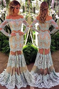 White Mermaid Off The Shoulder Long Sleeves Lace Floor Length Zipper Lace 15 Quinceanera Dress