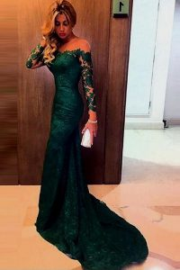 New Arrival Off the Shoulder Lace Mermaid Long Sleeves Dark Green Quinceanera Dresses Sweep Train Zipper