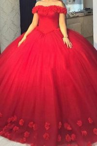 Flare Off The Shoulder Short Sleeves Lace Up Quince Ball Gowns Red Tulle