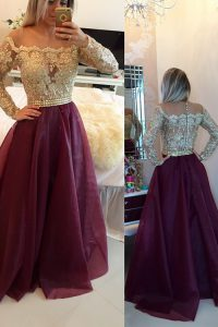 Stunning Scoop Burgundy A-line Beading and Appliques Quinceanera Dresses Zipper Organza Long Sleeves Floor Length