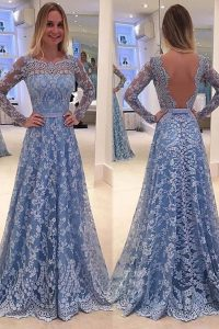 Blue Lace Backless Scoop Long Sleeves 15 Quinceanera Dress Sweep Train Lace