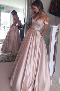 Custom Design Pink A-line Satin Off The Shoulder Short Sleeves Beading Floor Length Zipper Sweet 16 Dress