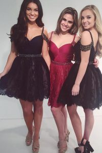 Charming Lace V-neck Sleeveless Zipper Beading 15 Quinceanera Dress in Black
