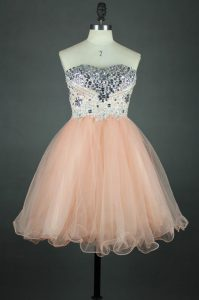 Peach Zipper Quinceanera Dresses Sashes ribbons Sleeveless Knee Length