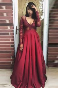 Clearance Pleated V-neck Long Sleeves Zipper Quinceanera Dresses Burgundy Satin