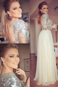 Elegant Scoop Champagne Organza and Sequined Backless Sweet 16 Dress Long Sleeves Floor Length Sequins