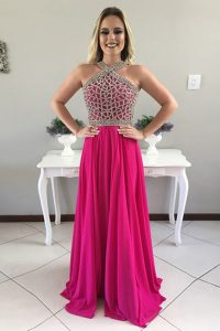 Halter Top Fuchsia Chiffon Zipper 15th Birthday Dress Sleeveless With Train Sweep Train Beading