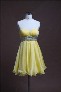 Fitting Sweetheart Sleeveless Sweet 16 Quinceanera Dress Mini Length Beading Light Yellow Organza