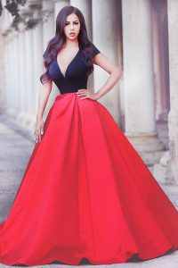 With Train Red And Black Quinceanera Gown V-neck Short Sleeves Sweep Train Zipper