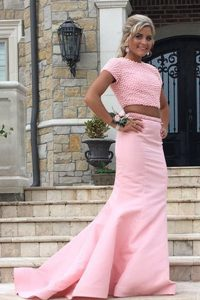 Hot Selling Mermaid Scoop Backless Vestidos de Quinceanera Rose Pink for Prom with Ruching Sweep Train