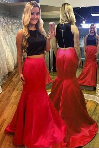 Nice Mermaid Scoop Ruching Ball Gown Prom Dress Red And Black Zipper Sleeveless Floor Length