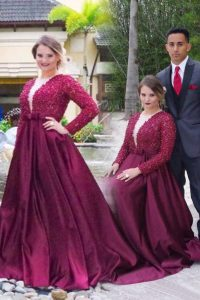 Stylish With Train Burgundy Vestidos de Quinceanera Scoop Long Sleeves Sweep Train Zipper