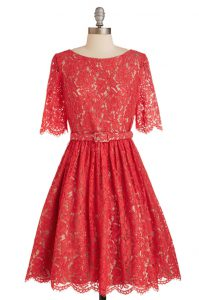 Scoop Short Sleeves Zipper Quinceanera Gown Red Lace