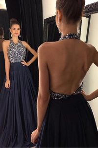 Exquisite Halter Top Sleeveless Satin With Train Sweep Train Backless Juniors Party Dress in Black with Beading