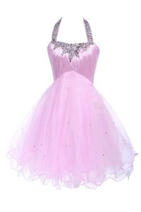 Lovely Halter Top Sleeveless Lace Up 15 Quinceanera Dress Lilac Tulle