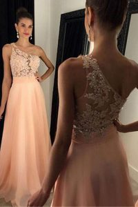 Classical One Shoulder Sleeveless Chiffon Ball Gown Prom Dress Beading and Lace Sweep Train Side Zipper