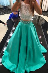 Unique A-line 15th Birthday Dress Turquoise Scoop Satin Sleeveless With Train Zipper