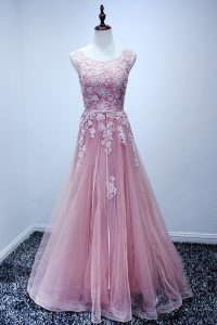 Classical Scoop Sleeveless Lace Up Sweet 16 Dress Pink Tulle