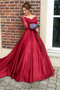 Custom Made Satin Off The Shoulder Long Sleeves Sweep Train Zipper Appliques Sweet 16 Dresses in Burgundy