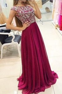 Amazing Burgundy Zipper Quinceanera Dress Beading Cap Sleeves With Train Sweep Train