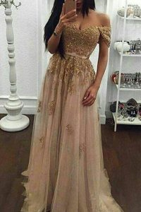 Best Off the Shoulder With Train A-line Short Sleeves Champagne Quinceanera Gown Sweep Train Zipper