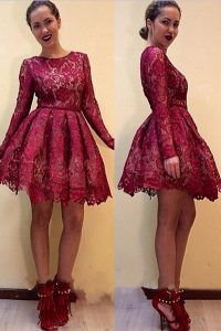 Scoop Lace Long Sleeves Knee Length 15 Quinceanera Dress and Lace