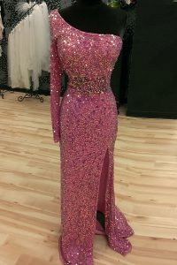 Glorious Mermaid Sequins One Shoulder Long Sleeves Sweep Train Backless Quince Ball Gowns Lilac Sequined