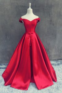 Beauteous Red Sweet 16 Quinceanera Dress Prom with Sashes ribbons and Bowknot Off The Shoulder Short Sleeves Sweep Train Zipper